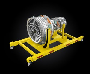 Jet fan engine on yellow engine stand. Clipping path available.